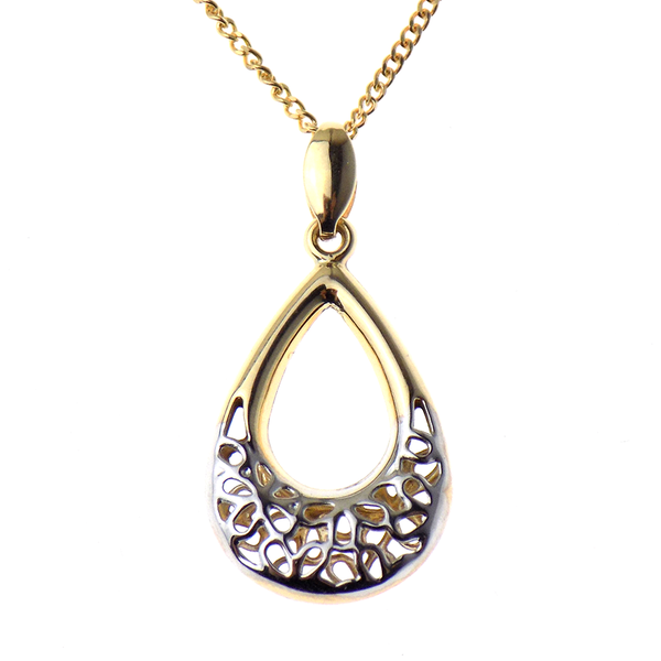 "9ct Yellow and White Gold Filigree Teardrop Pendant & 16"" Chain"