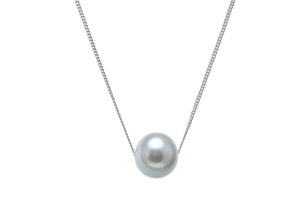 9ct White Gold Single 9.5mm Grey Round Fresh Water Pearl Slider Pendant & Chain