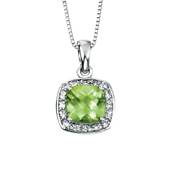 'Elements' 9ct White Gold Square Peridot & Diamond Pendant and Chain