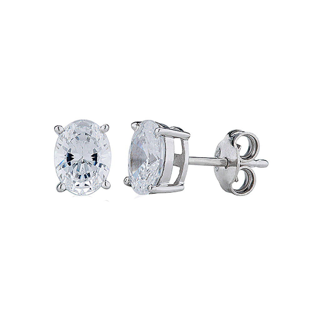 'Perfection' Sterling Silver & Swarovski Zirconia Oval Stud Earrings