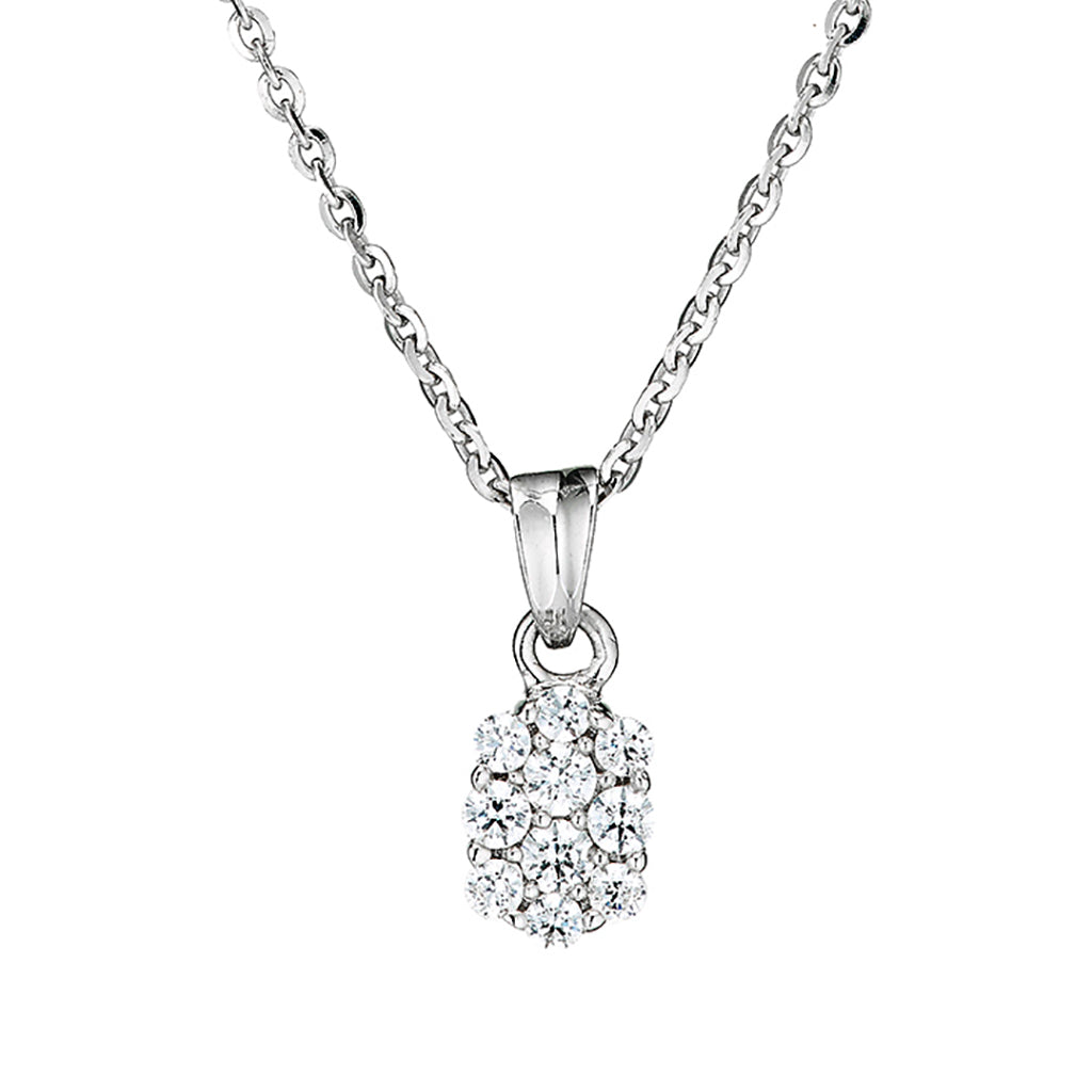 'Perfection' Sterling Silver & Swarovski Zirconia Oval Cluster Pendant & Chain