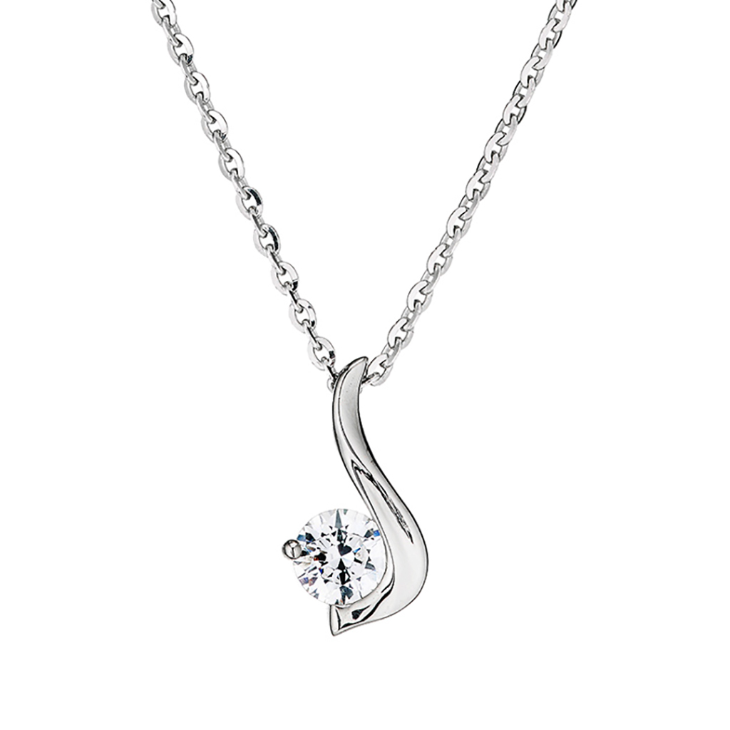 'Perfection' Sterling Silver & Swarovski Zirconia Single Stone Twirl Pendant & Chain
