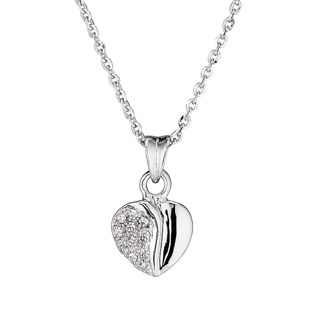 'Perfection' Sterling Silver & Swarovski Zirconia Heart Pendant & Chain