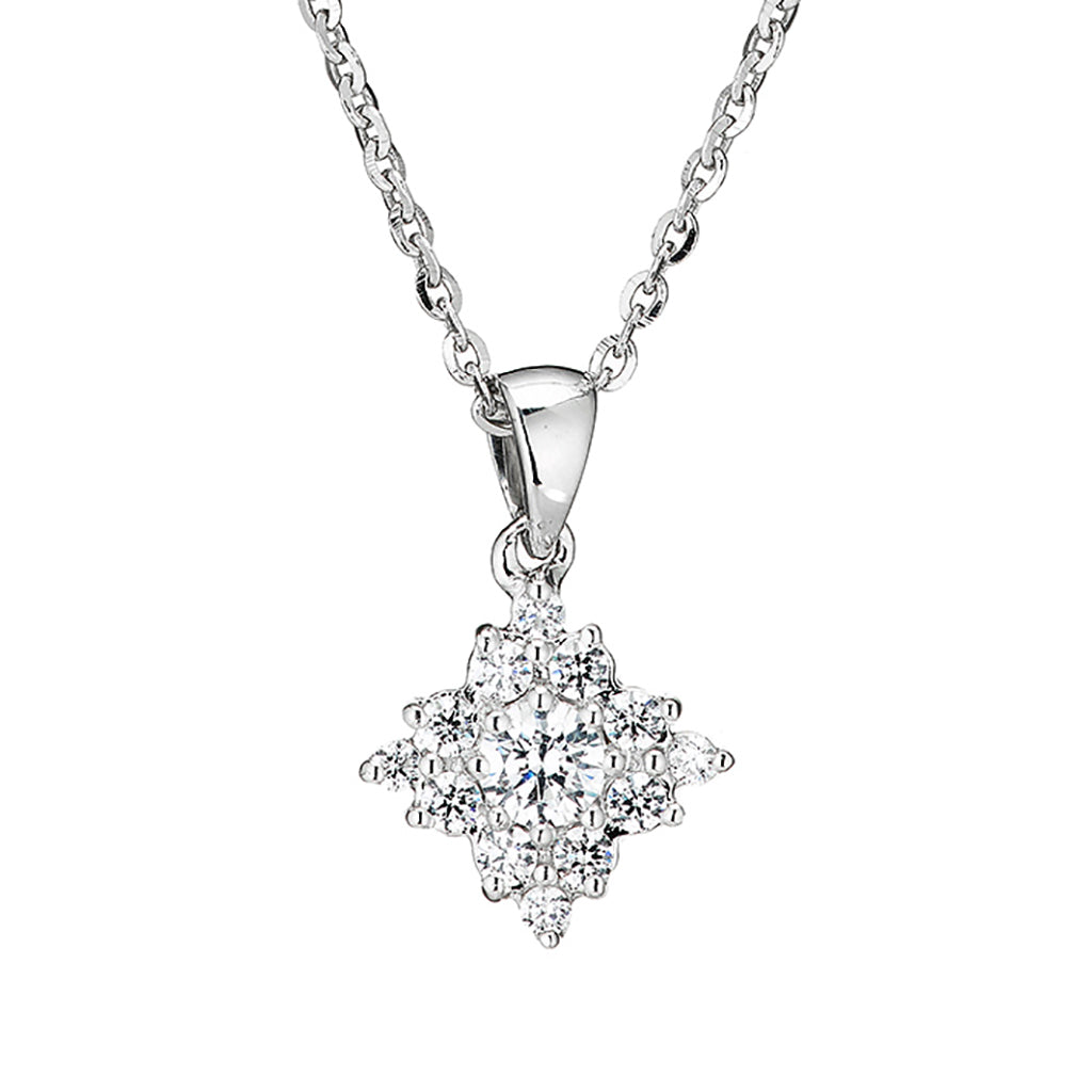 'Perfection' Sterling Silver & Swarovski Zirconia Diamond Shape Cluster Pendant & Chain