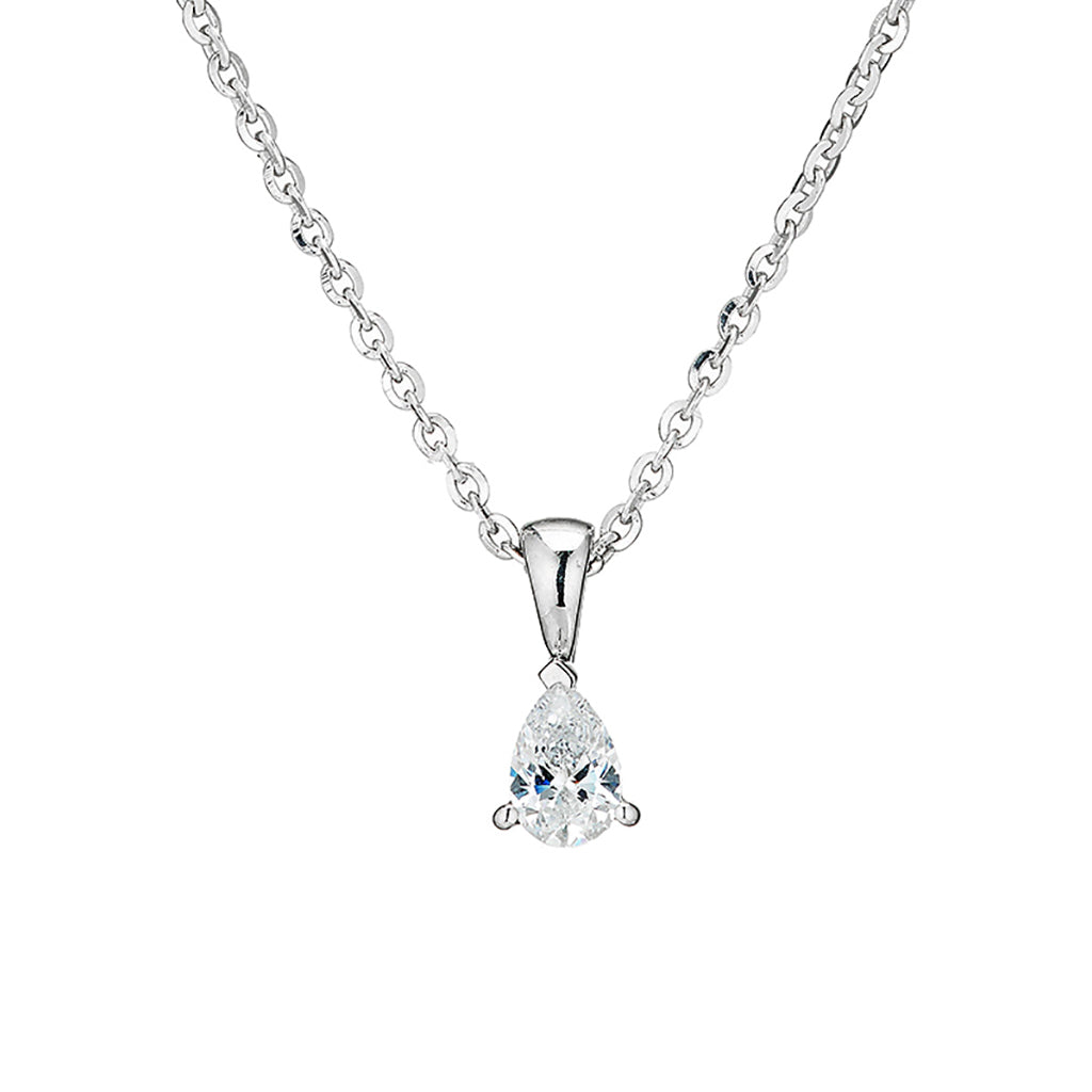 'Perfection' Sterling Silver & Swarovski Zirconia Single Pear-Shape Pendant & Chain