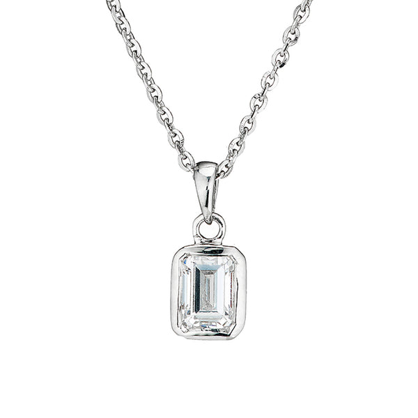 'Perfection' Sterling Silver Swarovski Zirconia Single Stone Pendant & Chain