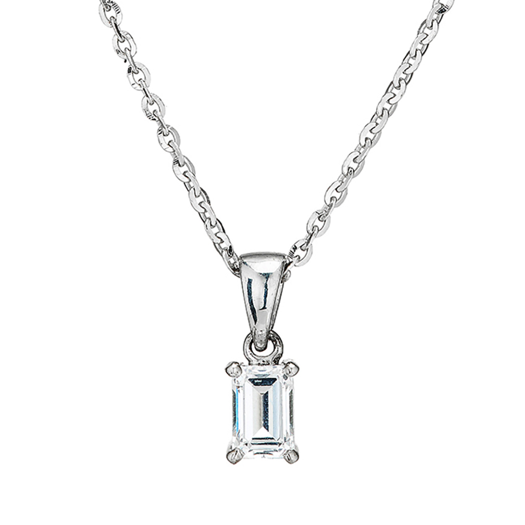 'Perfection' Sterling Silver & Swarovski Zirconia Rectangular Claw Set Pendant & Chain