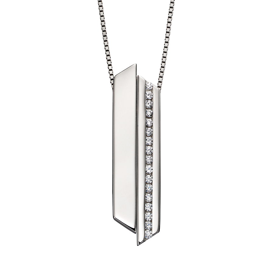 'Fiorelli' Sterling Silver Cubic Zirconia Channel Set Bar Pendant