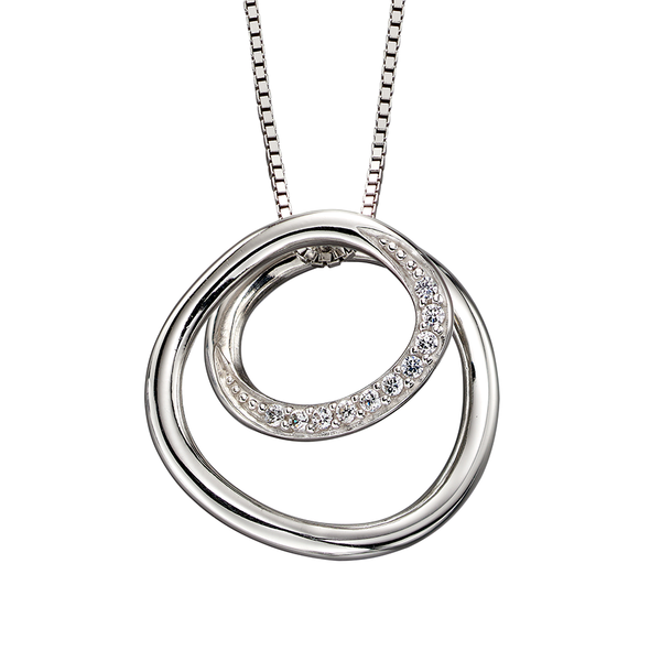 'Fiorelli' Sterling Silver and Cubic Zirconia Spiral Circle Pendant