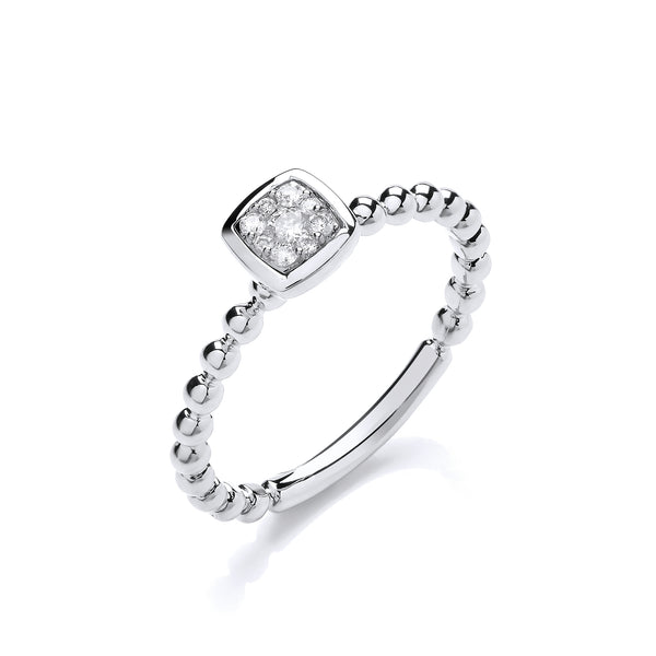 9ct White Gold 0.10ct Diamond Square Shape Head Beaded Shank Cluster Ring