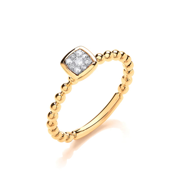 9ct Yellow Gold 0.10ct Diamond Square Shape Head Beaded Shank Cluster Ring