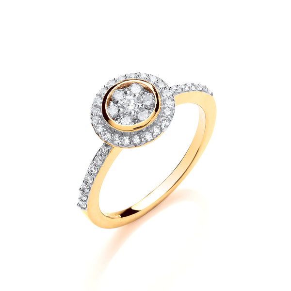 18ct Yellow Gold 0.45ct Diamond Cluster Ring with Diamond Set Shoulders