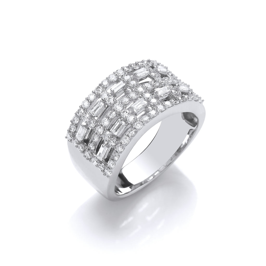 18ct White Gold Baguette Cut & Round Diamond Five Row Band Ring 1.00ct