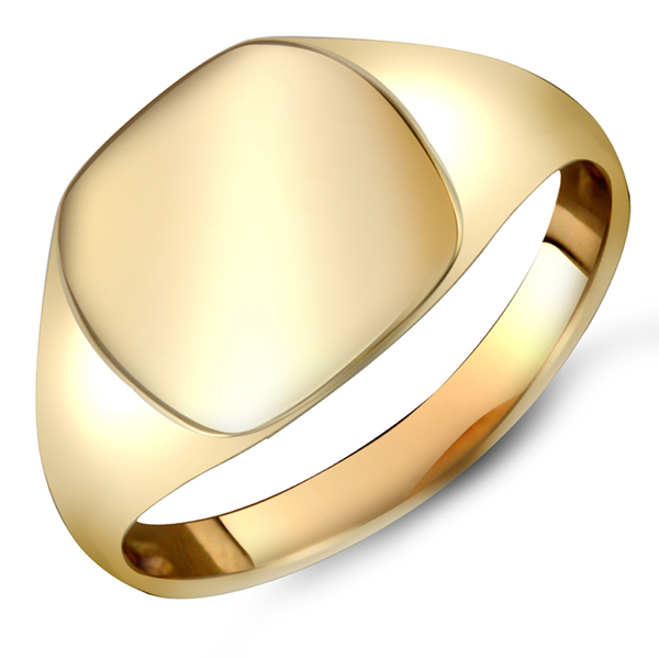 Gents 9ct Yellow Gold Plain Cushion-Shape Signet Ring