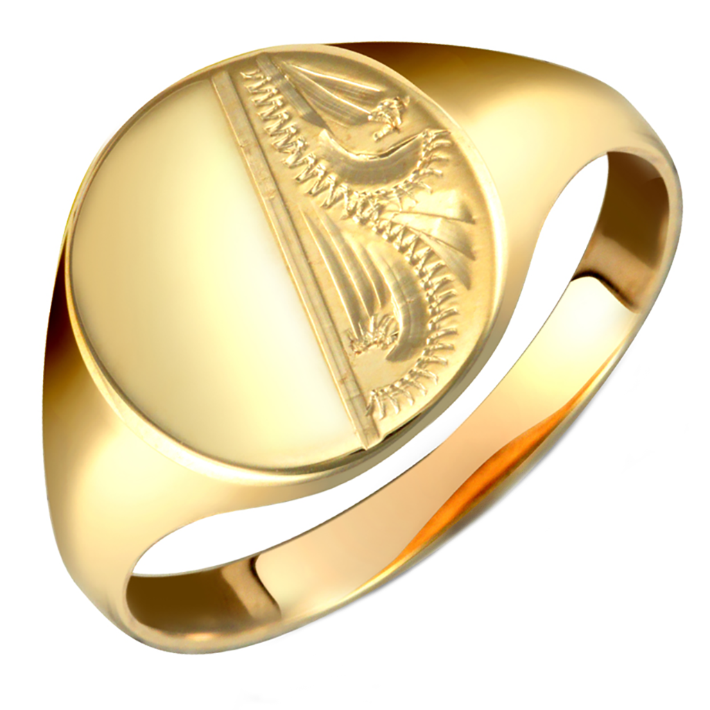 Gents 9ct Yellow Gold Oval Shaped Half Diamond Cut Signet Ring