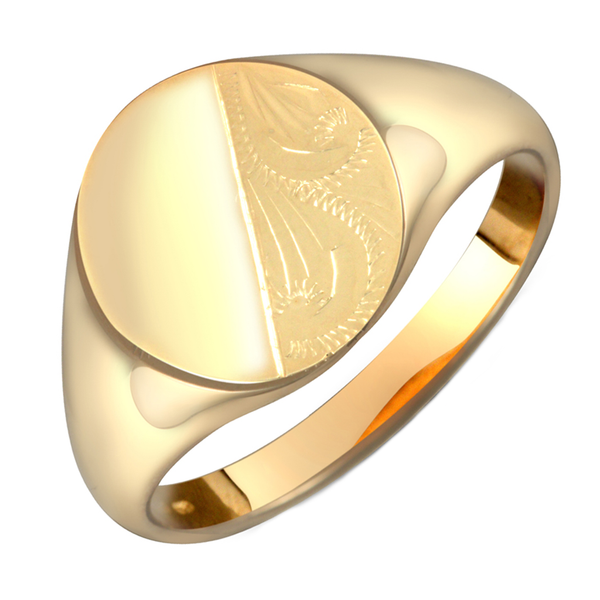Gents 9ct Yellow Gold Oval Shaped Half Diamond Cut Design Signet Ring