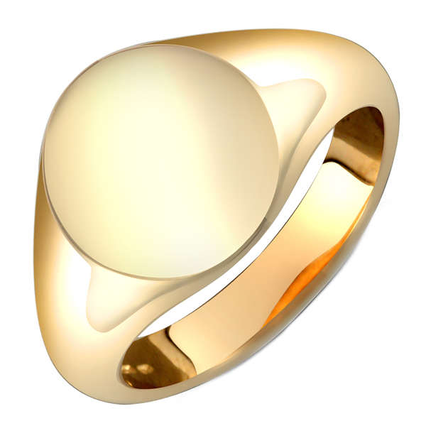 Gents 9ct Yellow Gold Plain Oval Shape Signet Ring