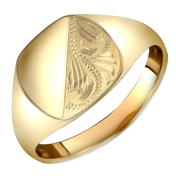 Gents 9ct Yellow Gold Cushion-Shape with Half Diamond Cut Design Signet Ring