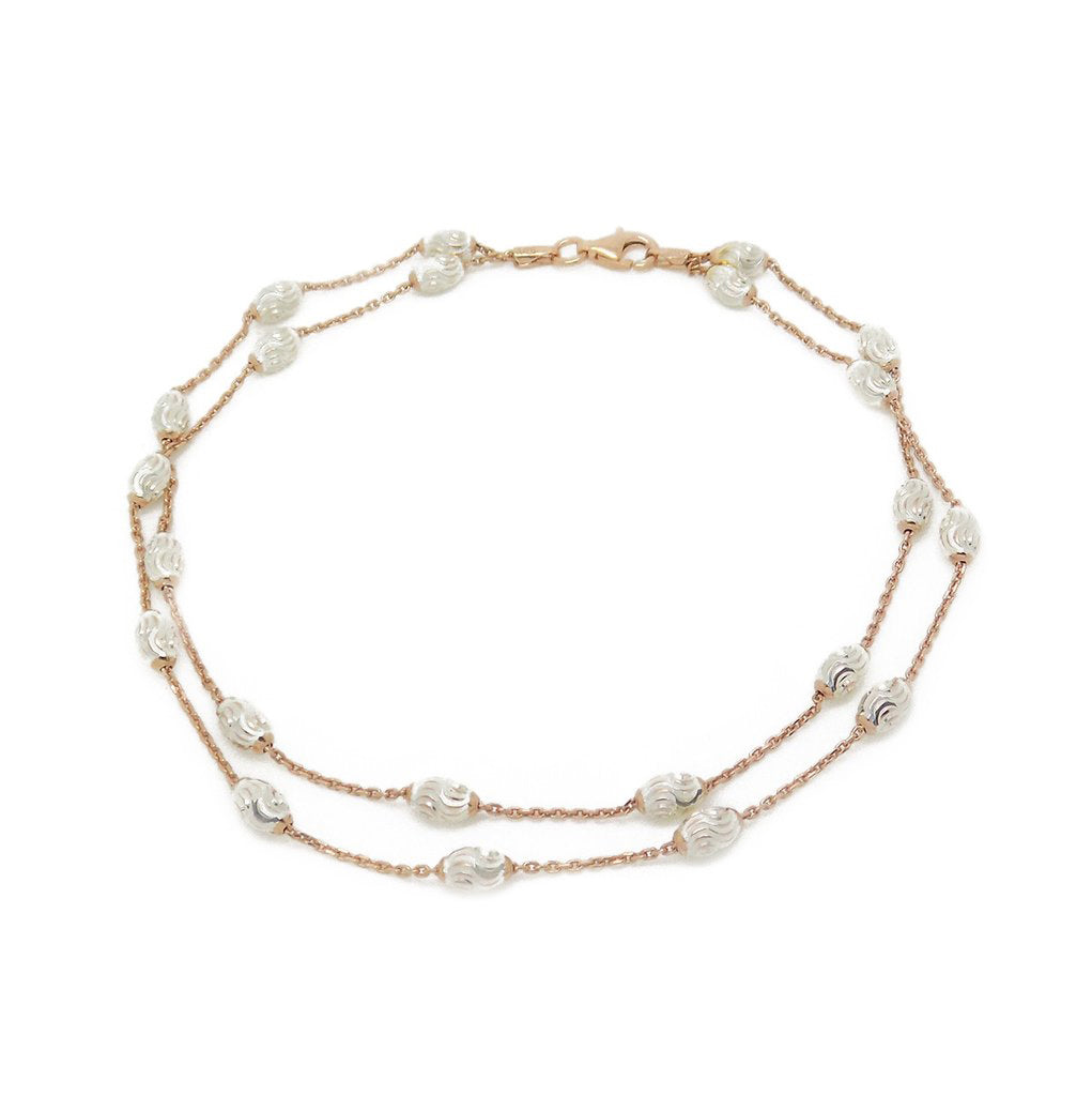 Sterling Silver, Rose Gold Plate Two Row Bead Anklet