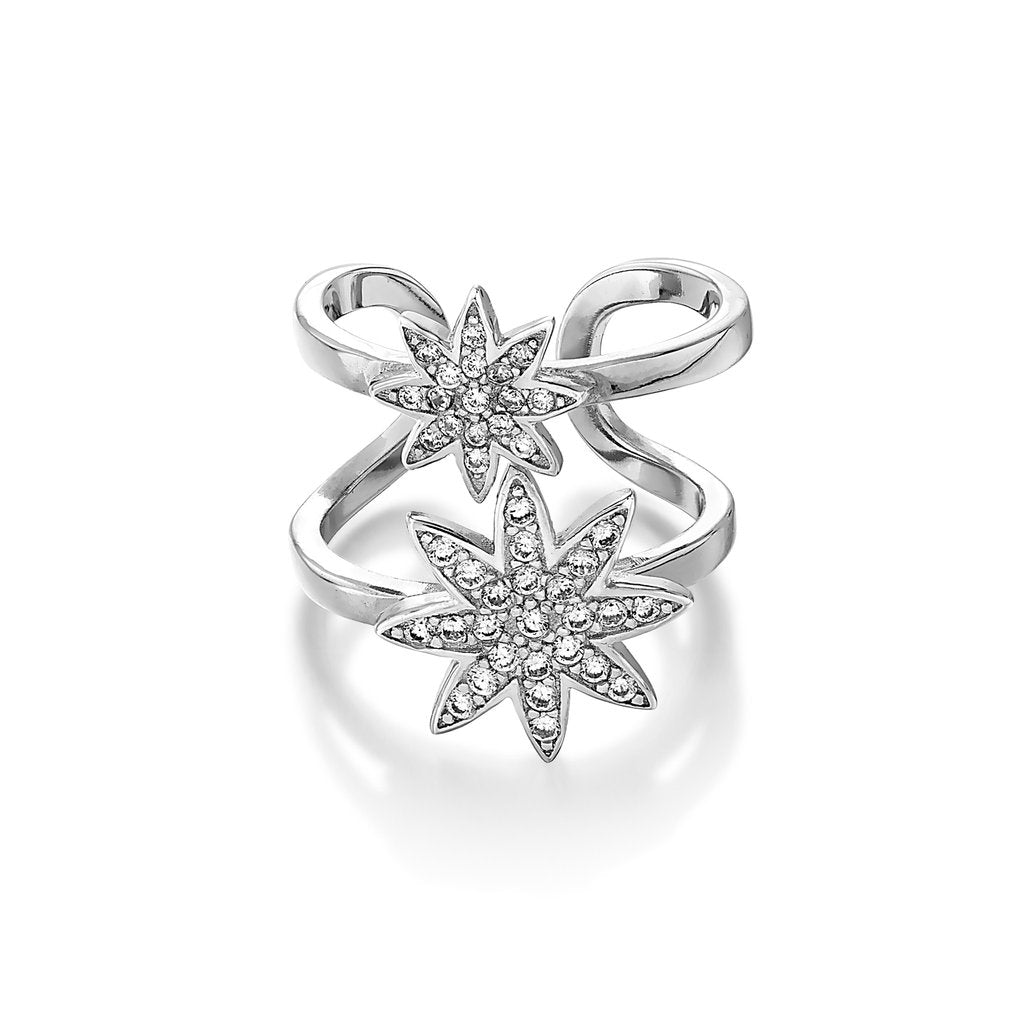 'Vixi' Sterling Silver CZ Nova 2 Star Ring