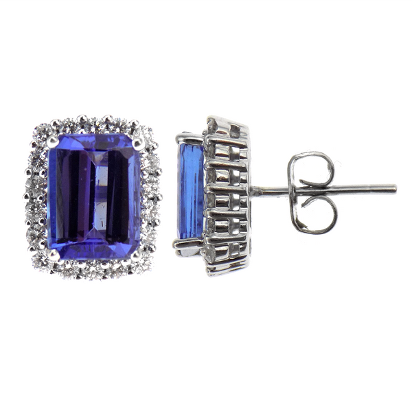 Pre-Loved White Gold Tanzanite & Diamond Stud Earrings