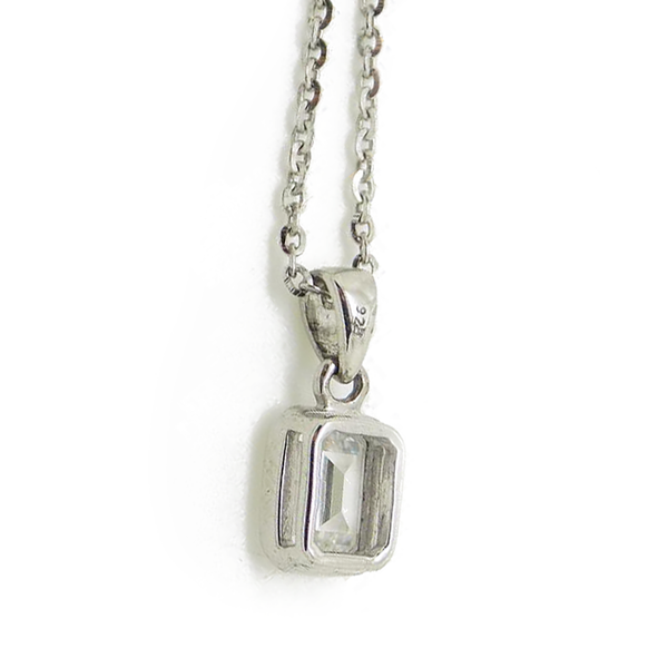 'Perfection' Sterling Silver Swarovski Zirconia Single Stone Pendant & Chain reverse