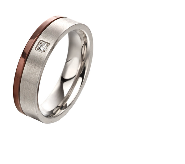 'Fred Bennett' Stainless Steel Ring with Brown IP Stripe and CZ