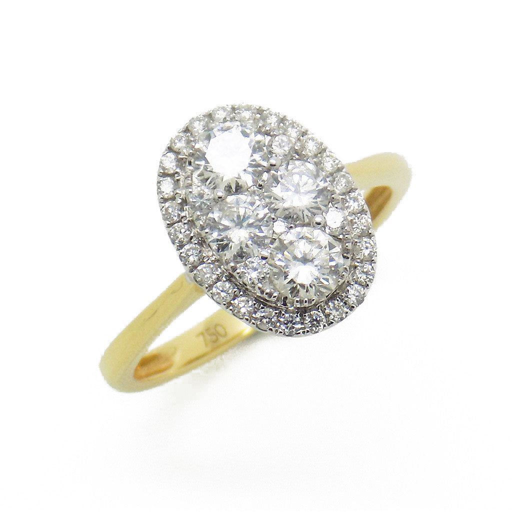 18ct Yellow Gold Oval Diamond Cluster Ring