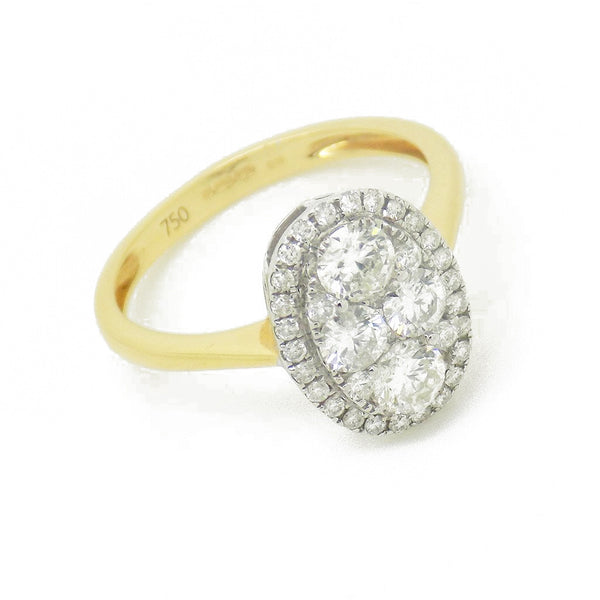 18ct Yellow Gold Oval Diamond Cluster Ring - Front View