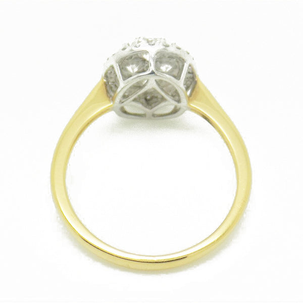 18ct Yellow Gold Oval Diamond Cluster Ring - Setting Detail