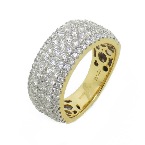 18ct Yellow Gold Five Row Diamond Band Ring