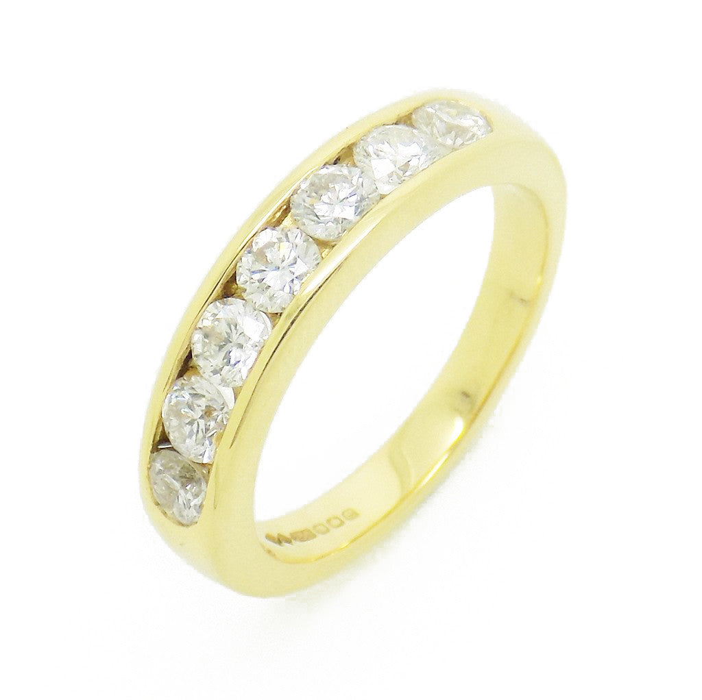 18ct Yellow Gold Seven Diamond Channel Set Eternity Ring