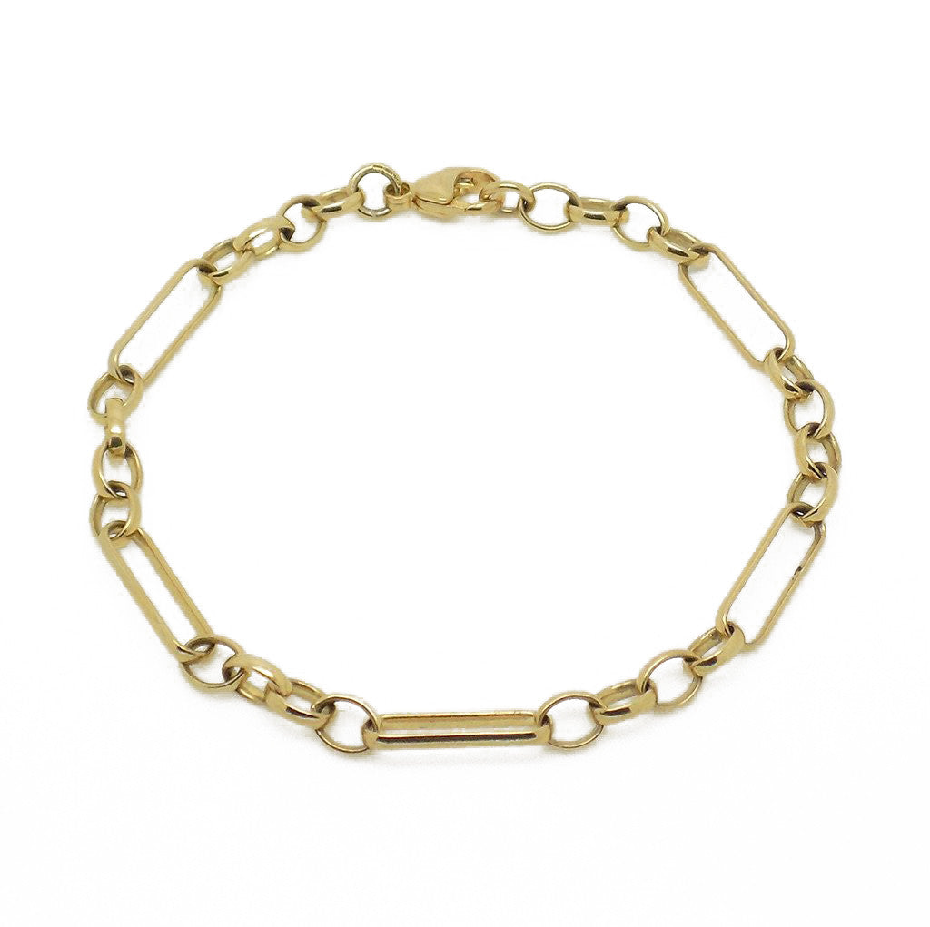 9ct Yellow Gold Oblong & Circle Link Bracelet