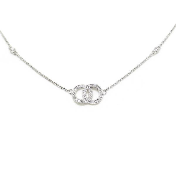 9ct White Gold & Diamond Double Doughnut Chanel Style Necklace