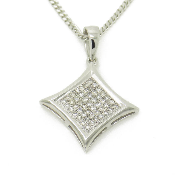 9ct White Gold Micro Set Diamond Curved Square Pendant