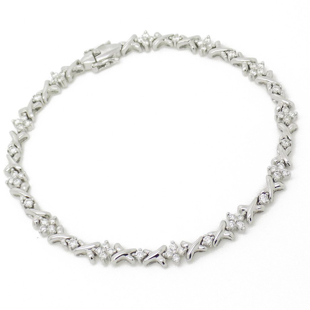 18ct White Gold Cross Link Diamond Cluster Bracelet