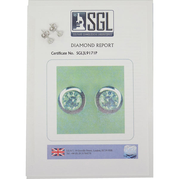 9ct White Gold Brilliant-Cut Rubover Set .10ct Round Diamond Stud Earrings Certificate