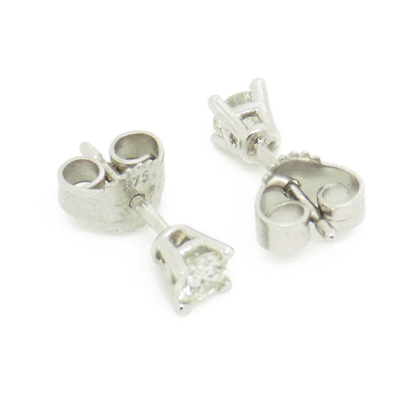 9ct White Gold Brilliant Cut .30ct Round Diamond Stud Earrings Fastening Details