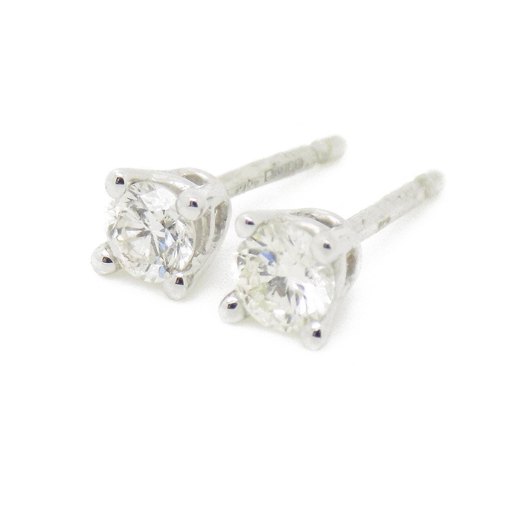 9ct White Gold Brilliant Cut .30ct Round Diamond Stud Earrings with Certificate