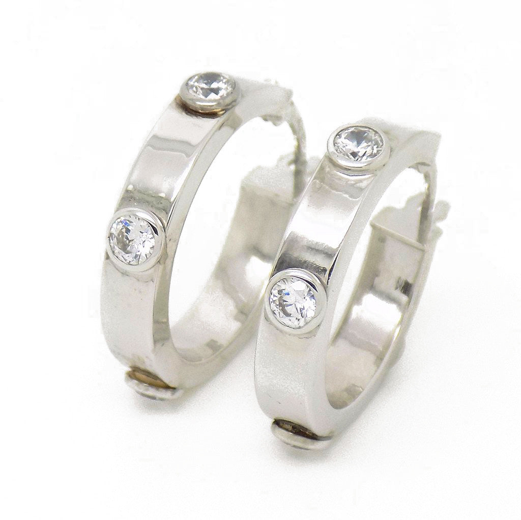 9ct White Gold Cubic Zirconia Rubover Set Hoop Earrings