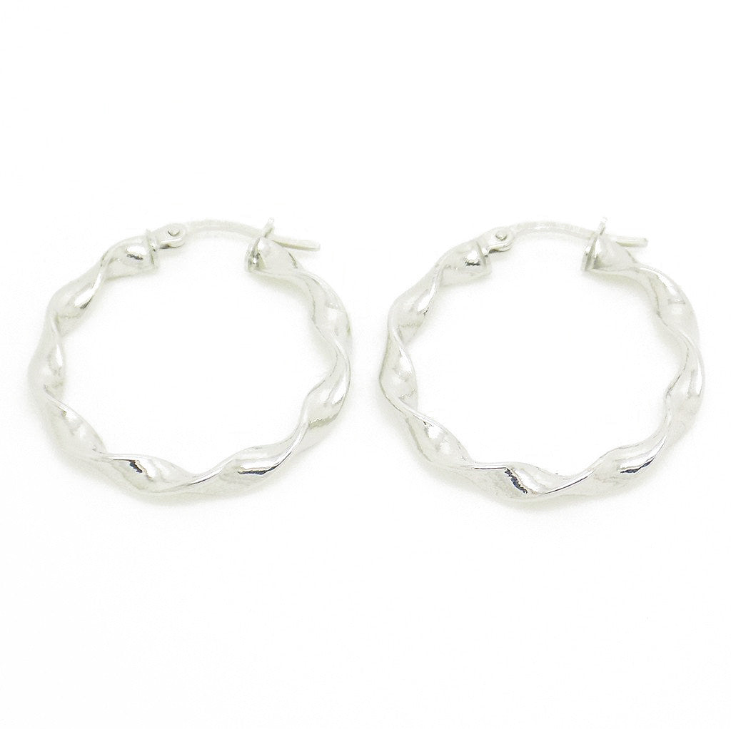 9ct White Gold 25mm Twisted Hoop Earrings