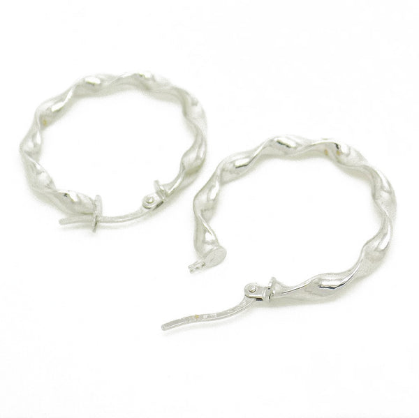 9ct White Gold 25mm Twisted Hoop Earrings Fastening