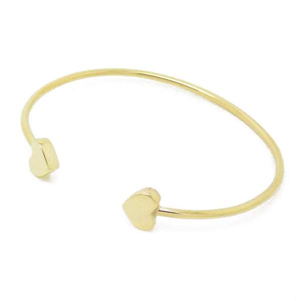 9ct Yellow Gold Double Heart Torque Bangle