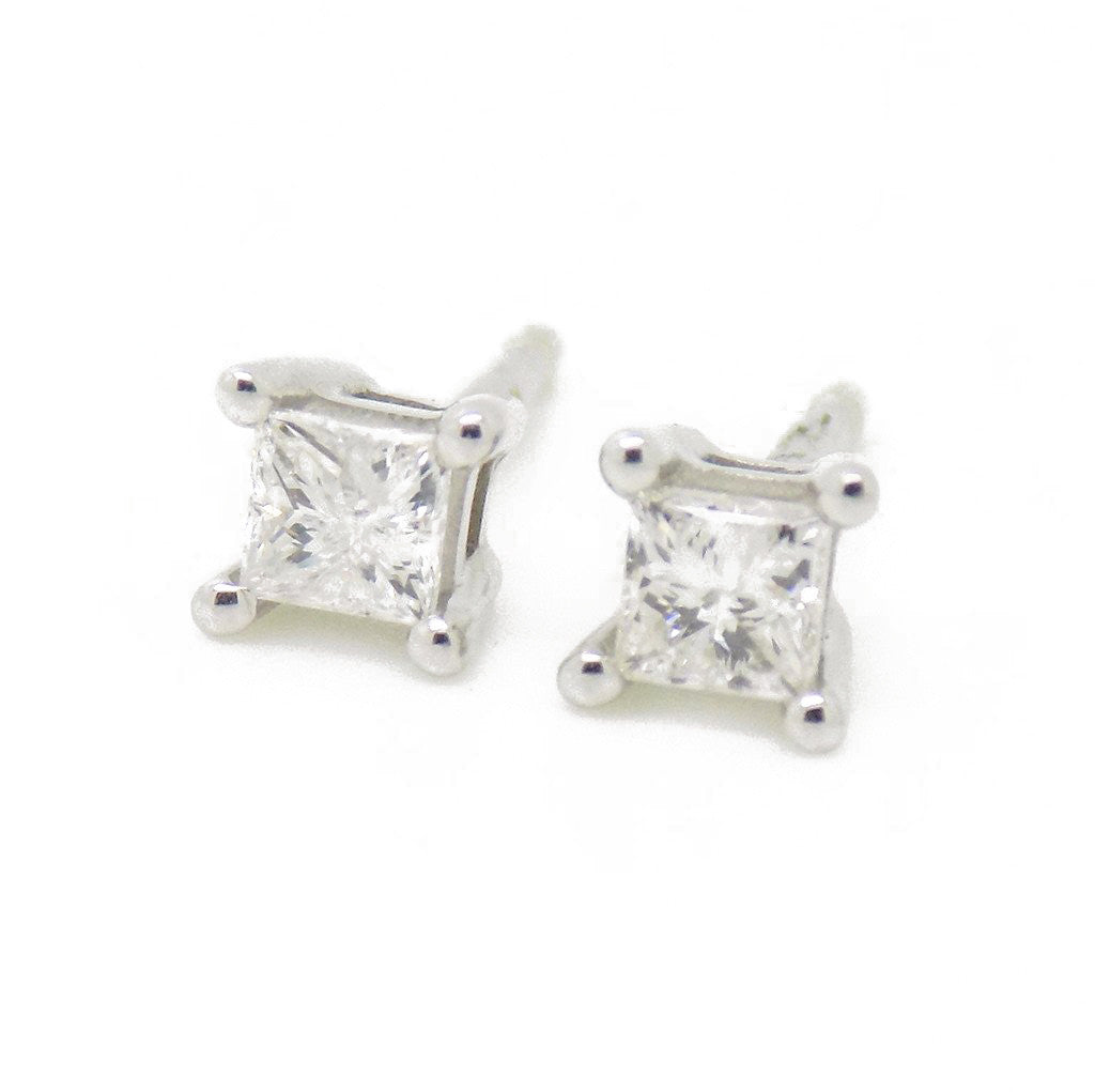 9ct White Gold Princess Cut .30ct Diamond Stud Earrings with Certificate