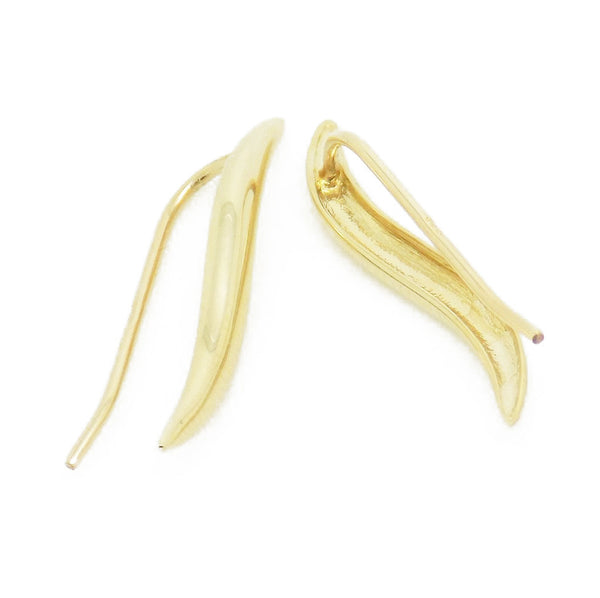 9ct Yellow Gold Wavy Bar Short Drop Hook Earrings Fastening Detail