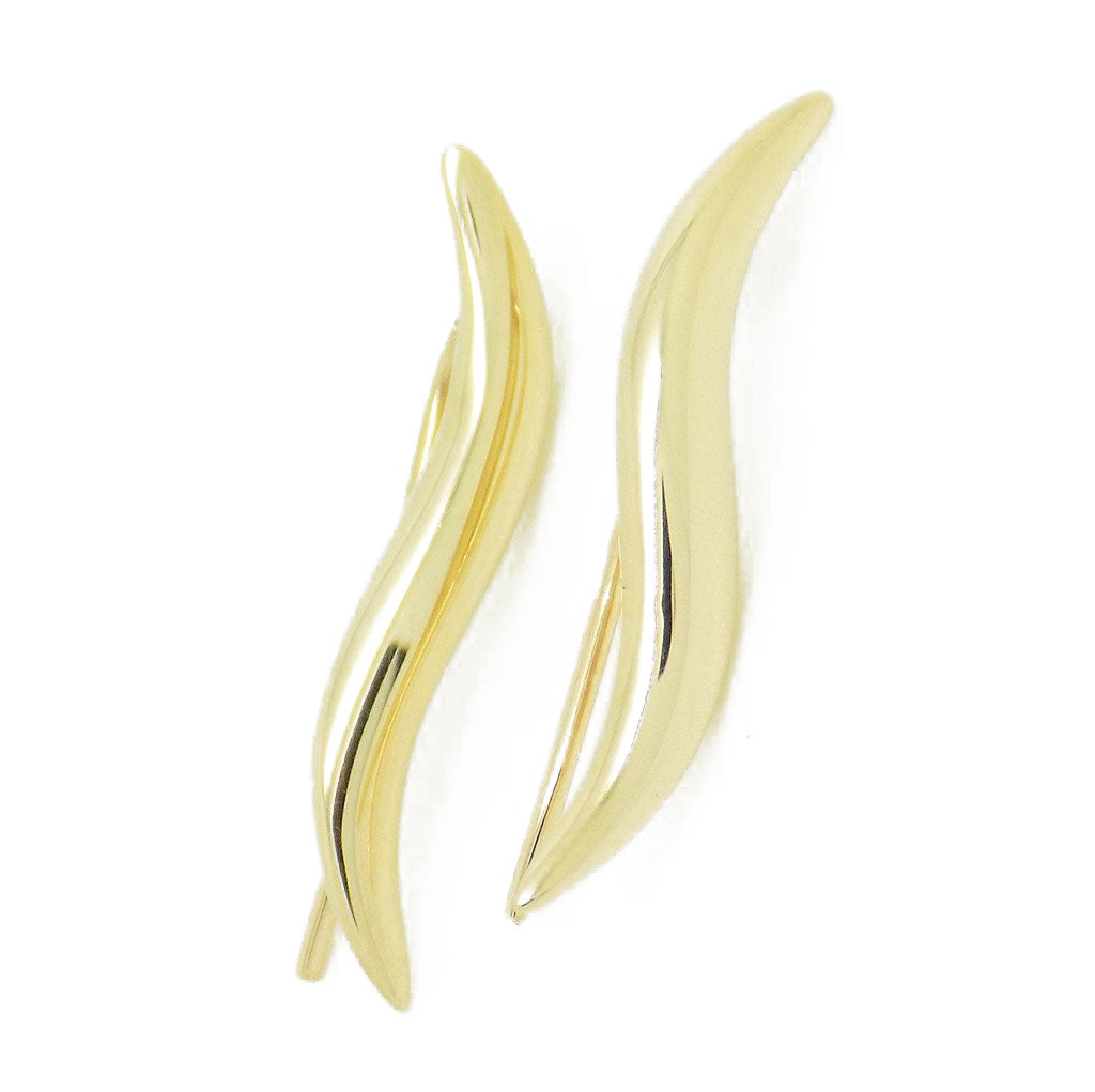 9ct Yellow Gold Wavy Bar Short Drop Hook Earrings