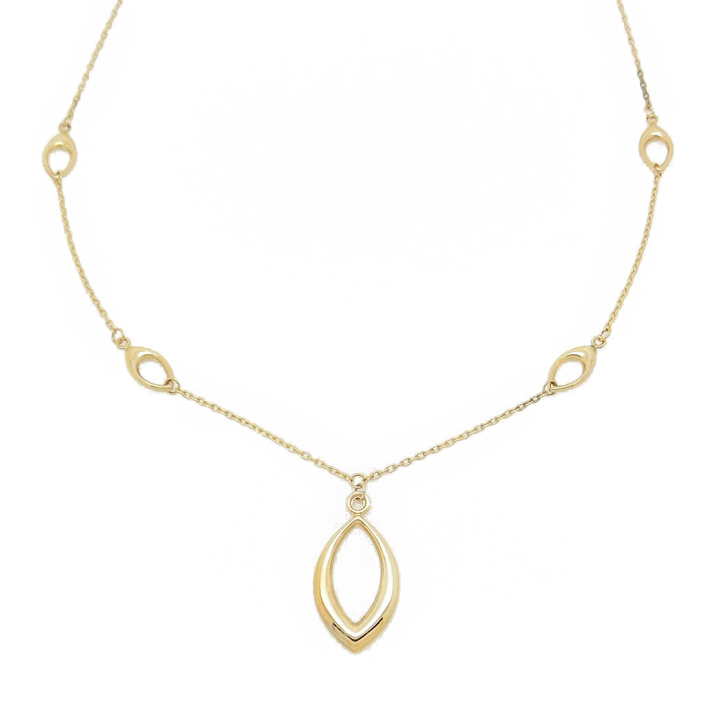 9ct Yellow Gold Marquise Drop Pendant Necklace