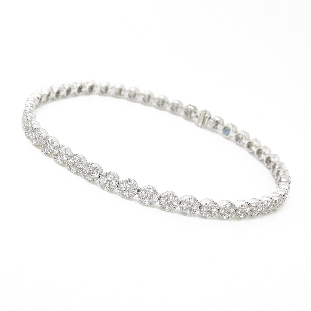 18ct White Gold Diamond Cluster Set Tennis Bracelet