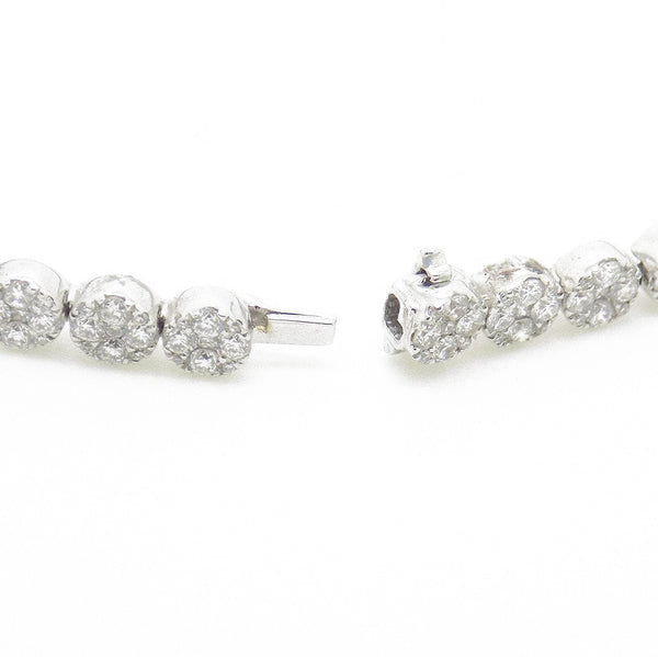 18ct White Gold Diamond Cluster Set Tennis Bracelet Fastening