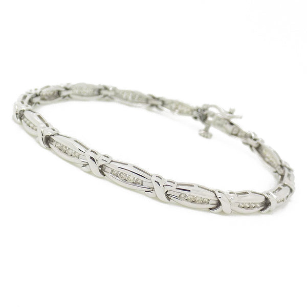 9ct White Gold Diamond Channel Set Bar & Cross Link Bracelet